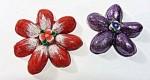 Flores hechas con cáscaras de pistachos